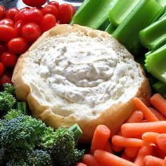 Dill Dip -  Ingredients:  2 cups mayonnaise  2 cups sour cream  1 tablespoon dried parsley  3 tablespoons grated onion  3 tablespoons dried dill weed  1 1/2 tablespoons seasoning salt  Serve w/ vegetables or Rye bread (bread bowl)