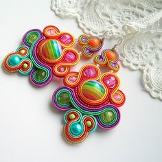 Rainbow soutache earrings jewelry for gift Dangle by Savvanah Bead Embroidery Jewelry, Textile Jewelry, Beaded Embroidery, Beaded Jewelry, Soutache Pendant, Soutache Necklace, Etsy Jewelry, Jewelry Crafts, Handmade Jewelry