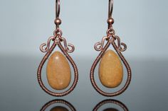Jasper handmade copper earrings wire wrapped by ShirinDesignsStore