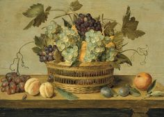 Jacob van Hulsdonck (Antwerp Nectarines and grapes in a basket on a table, with plums, oranges, a butterfly and a beetle signed '·IVHVLSDONCK·fe' ('IVH' linked, lower right) oil on panel 17 ¼ x 23 in. x cm. A4 Poster, Poster Prints, Dutch Still Life, Still Life Fruit, Dutch Golden Age, Fruit Painting, Johannes Vermeer, Dutch Painters, Vintage Artwork