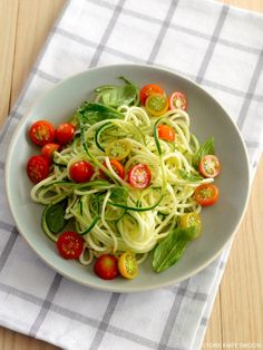 main entree pasta recipe : Zucchini Noodles with Cherry Tomatoes and Basil