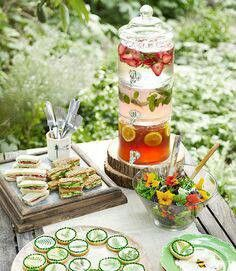 fruit and flowers Garden party- need the 3-tier beverage dispenser