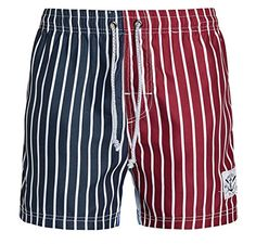 Mens Stripes Beach Shorts Swim Trunks Dark Blue Asian XL ** View the item in details by clicking the VISIT button
