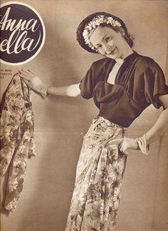 annabella - magazine moda - 24 aprile 1947 - tailleur seta stampata - la camicetta di maglia seta nera
