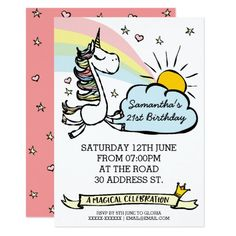 Unicorn Birthday Party Invitation Invitations Custom Baby Shower Personalized