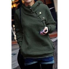 Side Pockets Design Long Sleeve Loose Women's Hoodie $15