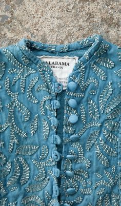 detail, Alabama Chanin - Small Beaded Anna's Garden Swing Jacket, dyed in indigo