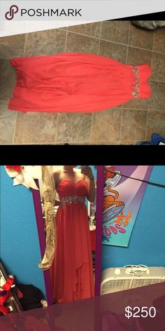 """Strapless prom dress A long strapless prom dress in a peachy bright pink with beautiful beading around the waistline. It's made of heavy higher quality material and is fitted for a 5'6"""" 150 pound girl. Dresses Prom"""