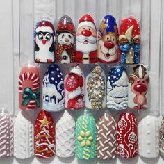 Nails Stuff - the largest selection of various nail art and accessories at affordable prices Nail Art Noel, Xmas Nail Art, Cute Christmas Nails, Xmas Nails, Christmas Nail Art Designs, Toe Nail Art, Holiday Nails, Pink Gel Nails, Bling Acrylic Nails