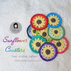 sunflower coaster free crochet pattern LittleMeeCreations