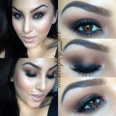 Bronze smokey eyes and nude lips