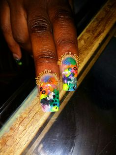 Colored acrylic with embedded nailart