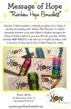 "Something GOOD to do with all of those bracelets! Rainbow ""Hope"" bracelets - Message of Hope"