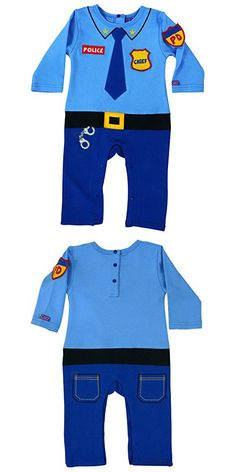 Sozo Unisex-Baby Newborn Police Coverall, Blue/Black, 6-9 Months