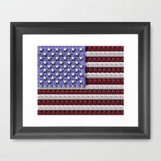 Textured Look American Flag Framed Art Print