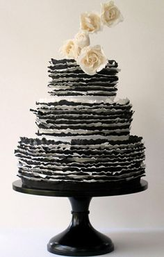 Charming black + white ruffle wedding cake