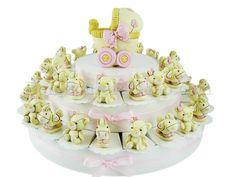 Torta bomboniera per femminuccia con 38 animaletti simpatici assortiti e confetti inclusi #tortadibomboniere #battesimo #nascita #animaletti #rosa