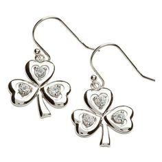 Stone Set Shamrock Silver Earrings