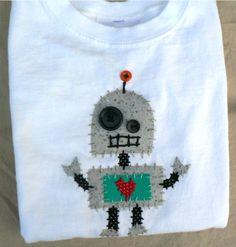 Robot Applique Onesie or Shirt.