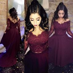 long sleeves prom dresses, burgundy evening dresses #SIMIBridal #promdresses