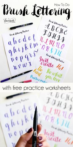 How to Do Brush Lettering with Free Practice Worksheets + Instructional Video. D… Sponsored Sponsored How to Do Brush Lettering Lettering Brush, Creative Lettering, Brush Script, Lettering Styles, How To Hand Lettering, Brush Lettering Worksheet, Simple Lettering, Hand Lettering Practice, Lettering Ideas