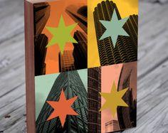 Chicago popart - Chicago skyline art - Chicago Art Print - Chicago Flag - hout blok Art Print