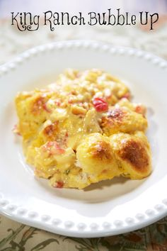 King Ranch Bubble Up Recipe - chicken, Velveeta cheese, Rotel, chicken soup tossed with chopped refrigerated biscuits and baked - use mild rotel if worried about the heat. SO easy and SO delicious! I wanted to lick my plate! Turkey Recipes, Chicken Recipes, Recipe Chicken, Chicken Soup, Ranch Chicken, Chicken Spaghetti, Chicken Casserole, Great Recipes, Favorite Recipes
