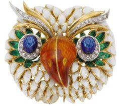 Diamond, Enamel, Gold Brooch