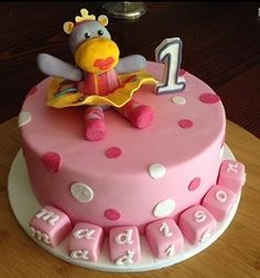 Round Cake   block letters   hippo topper $185
