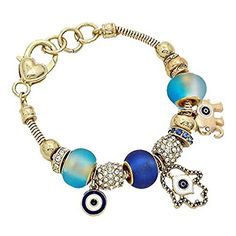 Womens Fashion Pandora Inspired Multi Beaded Evil Eye Hamsa Hand and Elephant Gold Bracelet in Red, Blue, or Multi Color > Trust me, this is great! Click the image. : trend jewelry 2016