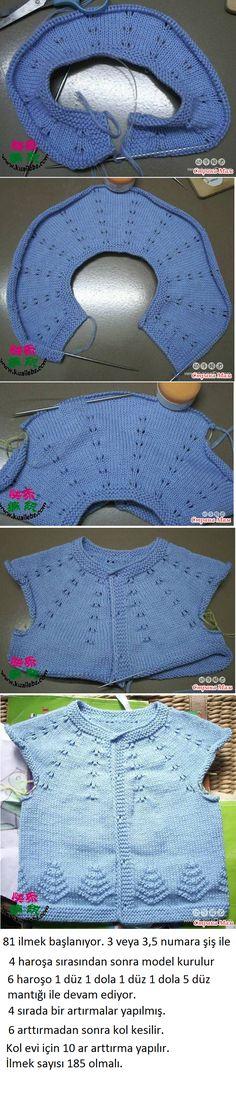 Mavi Yeleğin Açıklaması [] # Idea,<b Knitting For Kids, Baby Knitting Patterns, Loom Knitting, Crochet For Kids, Knitting Stitches, Crochet Patterns, Knitted Baby Cardigan, Baby Pullover, Filet Crochet