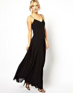 fluid black maxi dress - asos