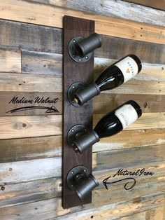 This unique custom wine rack is made of industrial iron pipe fittings using premium select walnut and cherry woods for the base. Wine Rack Storage, Wine Rack Wall, Wine Bottle Rack, Dyi Wine Rack, Homemade Wine Racks, Bottle Stopper, Wine Bottles, Bottle Opener, Wine Rack Inspiration