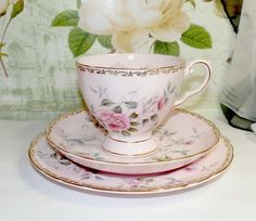 Royal Tuscan China Trio Pink With Pink Roses