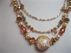 SOLD!! Pink and gold three strand necklace by KylesStyles on Etsy