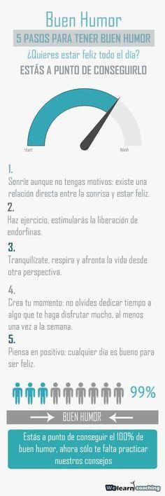5 pasos para estar de buen humor. #infografia #humor