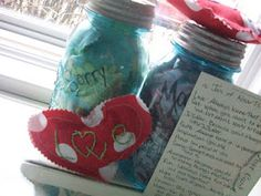 """Jars of sewn conversation hearts for Valentine's Day, with a postcard """"index"""" of the words and their meanings..."""