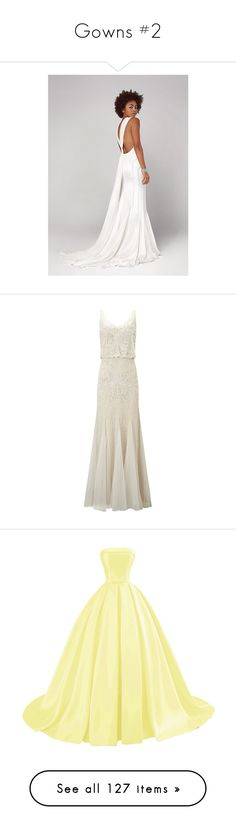 """""""Gowns #2"""" by let-me-slytherin ❤ liked on Polyvore featuring dresses, ivory, vintage white dress, white dress, see-through dresses, 1920s beaded dress, white sheer dress, wedding dresses, women dresses and gowns"""