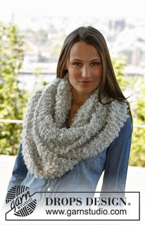 """Cozy Winter - Knitted DROPS neck warmer in garter st in 1 thread """"Puddel"""" or 2 threads """"Alpaca Boucle"""". - Free pattern by DROPS Design Knitting Patterns Free, Free Knitting, Free Pattern, Crochet Patterns, Drops Design, Boucle Yarn, Point Mousse, Knit Cowl, Knitting For Beginners"""