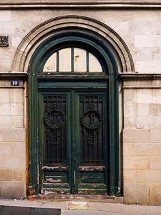 Rustic green doors