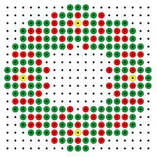 Christmas wreath hama bead pattern from Maria Fuse Bead Patterns, Perler Patterns, Beading Patterns, Christmas Perler Beads, Beaded Christmas Ornaments, Christmas Charts, Beading For Kids, Perler Bead Templates, Beaded Banners