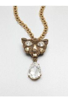 Oscar De La Renta Swarovski Crystal Panther Convertible Necklace in Gold