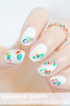 Rainbow Drops - Drag Marble nail art tutorial: http://sonailicious.com/drag-marble-nail-art-tutorial/
