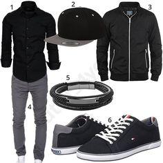 fc65343ba812 Herrenoutfit mit schwarzem Amaci Sons Hemd und grauer Chino, Flexfit  Snapback Cap, leichter Blend Jacke