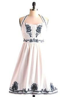 modcloth retro 50s style dress summer white navy halter pin up rockabilly vlv from $38.0