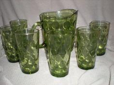 Vintage Retro Dot Green Pitcher Tumbler Water Glasses 50's El Dorado Hazel Atlas | eBay