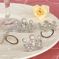 Festa de casamento favorece coroa de prata anéis de guardanapo ( 4 peças em um…