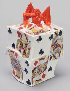 Humidor, Devil & Card, Royal Bayreuth. Bayreuth