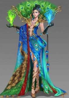 Young female in peacock dress holding green and blue flames in each hand Fantasy Art Women, Beautiful Fantasy Art, Fantasy Girl, Elfen Fantasy, Anime Fantasy, Peacock Dress, Peacock Art, Peacock Painting, Fantasy Character Design