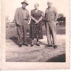 Left-right, Granny's brother Charley from California, Victor's wife Mattie, and Victor in Bonifay, FL.